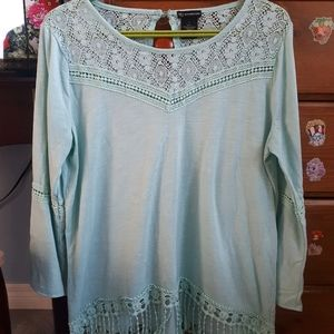 New Directions Large Aqua blouse